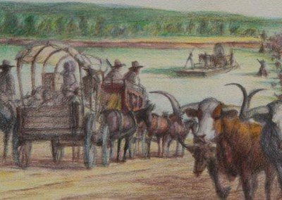 Rush Hour at Colbert's Ferry – Texas Road
